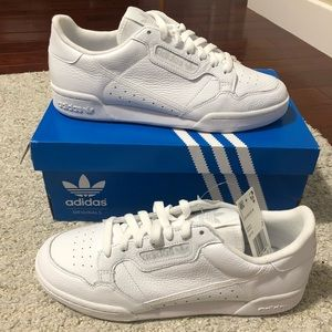 Adidas continental all white leather shoes 8.5